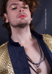 Close up of model Owen taken from a fashion shoot published in British Editorial magazine