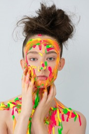 Dripping paint makeup