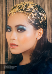 Gold leaf and irridescent makeup
