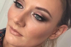 Rose gold and brown blended eye makeup and dewy skin - a sought after look by clients