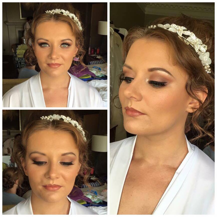 Dream Wedding Winner Jessica dressed and ready for her wedding at Crathorne Hall in Yarm. Makeup by Gemma Rimmington.