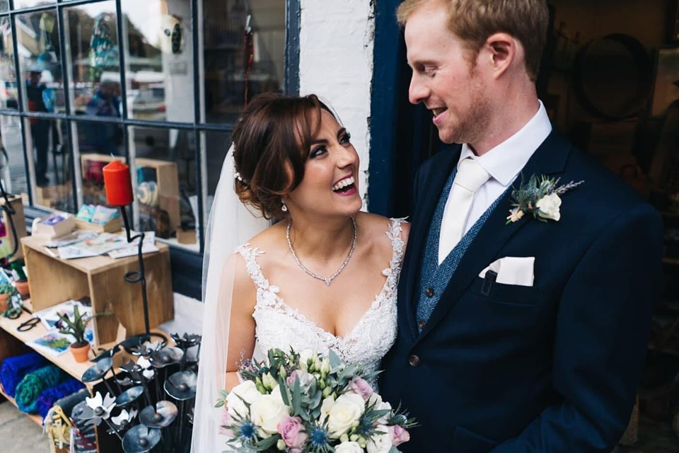 Smiley bride Hannah looks absolutely stunning for her wedding at The Talbot Hotel