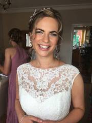Glowing bride Rachel looks absolutely stunning all dressed ready for her wedding at Wrays Barn in Great Ayton, North Yorkshire. Makeup by Gemma Rimmington.