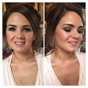 Bridesmaid looks very elegant with a brown smeokey eye and nude lip gloss. Makeup by Gemma Rimmington and venue is Broughton Hall, Skipton.