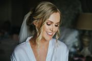 Beautiful close up of Bride Gemma and her beautiful bridal makeup for her wedding at Wynyard Hall