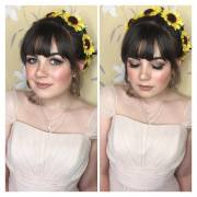 Sunflower flower crown on Bridesmaid beauty Hannah. Glowing skin and soft smokey eyes. Wedding at Rushpool Hall in Saltburn. Makeup by Gemma Rimmington.