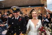 Stunning Bride Leanna is beaming after the wedding service