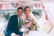 Bride Rachel andGroom Andy couldn't look any happier sat in the back of a wedding decorated VW camper van. Wedding venue was Wrays Barn, Great Ayton. Makeup by Gemma Rimmington.