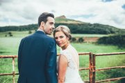 Great Ayton Bride Rachel over looking Roseberry Topping. Wedding venue was Wrays Barn. Makeup by Gemma Rimmington.