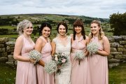 Laura and her gorgeous bridesmaids at Danby Castle, North Yorkshire. Makeup by Gemma Rimmington.