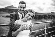 Happy bride Rachel and her groom at Roseberry Topping, Great Ayton, North Yorkshire. Makeup by Gemma Rimmington.