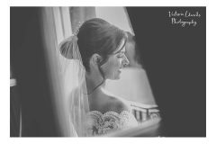 Black and white image of bride Debbie who's bridal style is classic