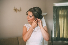 Bride Rachel all dressed ready for her wedding at Wrays Barn in Great Ayton, North Yorkshire. Makeup by Gemma Rimmington.