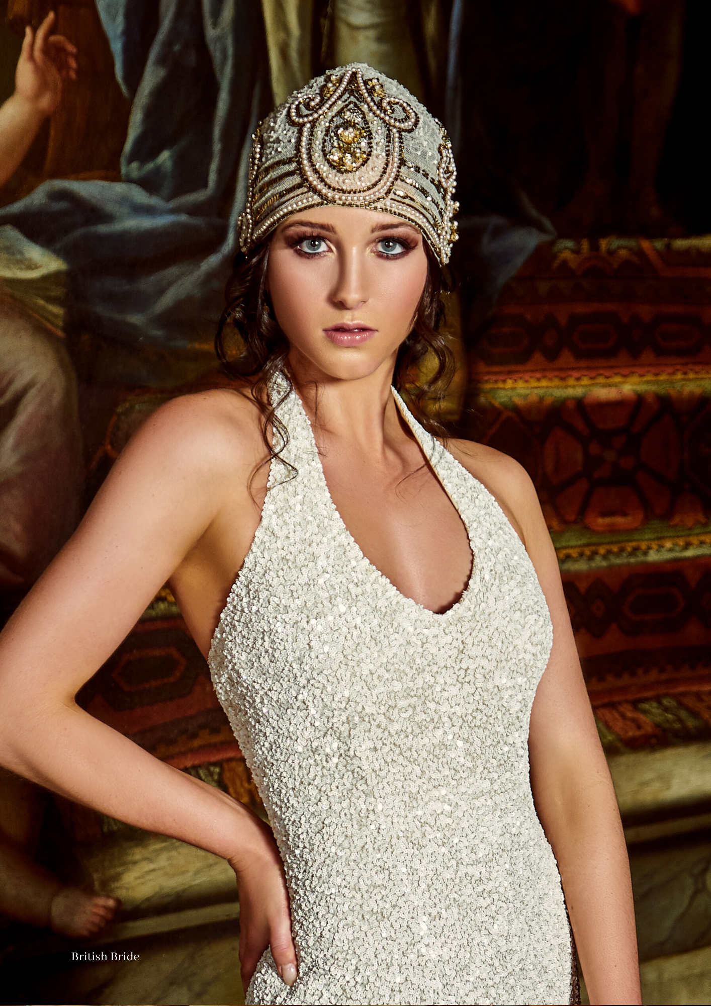 Bridal makeup and fashion for British Bride magazine at The Old Royal Naval College in London