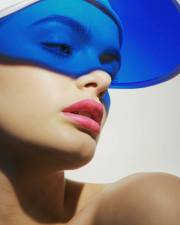 Blue visor beauty shot of model Deann Shotton