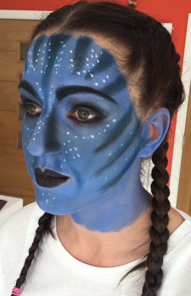 Avatar makeup created for a family fancy dress party