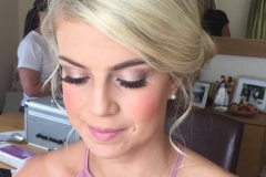 Pretty in pink bridesmaid wearing nude pink tones for her bridesmaid makeup for the wedding at wrays Barn, Great ayton