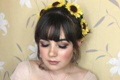 Beautiful soft makeup on young bridesmaid Hannah takem at Rushpool Hall in Saltburn.