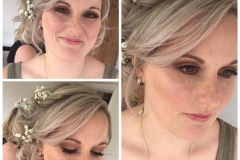 Dewy glossy skin on this bridesmaid showing her freckles.