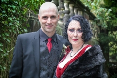 Gothic bridal style and makeup on bride Jo who was married at Crathorne Hall, Yarm.
