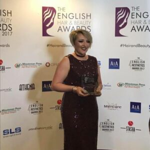 Gemma Rimmington Makeup Artist winning the award for Specialist Makeup Artist of the Year at the English Hair and Beauty Awards