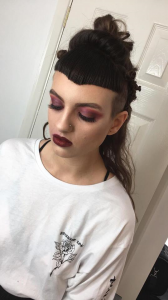 Grunge makeup by Gemma Rimmington for fashion shoot in Middlesbrough. Eye makeup created by Anastasia Beverley Hills eyeshadow and lips by Lime Crime
