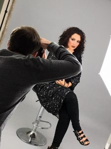Behind the scenes ohoto from fashion commercial photoshoot in Guisborough for Madame MeMe - makeup done by Gemma Rimmington