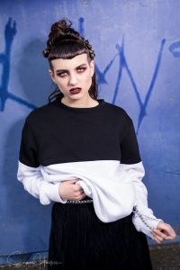 Image by Simon Hogben. Grunge makeup by Gemma Rimmington for fashion shoot in Middlesbrough. Eye makeup created by Anastasia Beverley Hills eyeshadow and lips by Lime Crime
