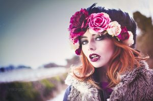 Image of model Rachelle Rogue on a photoshoot with myself and photographer, Nelly Nelson. Makeup done by Gemma Rimmington. Photoshoot took place on a snowy day in Guisborough, North Yorkshire.