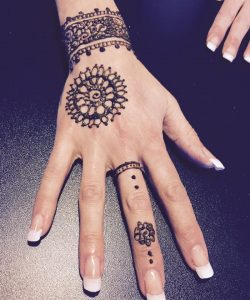 Photo showing a henna design I did on a clients hand/wrist in my home studio in Guisborough, North Yorkshire.