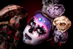 Image taken by photographer Kendra Eastwood from Hinderwell, North Yorkshire. Makeup by Gemma Rimmington from Guisborough. Makeup is mexican day of the dead style and model Rachel Knox is making a skull and floral headpiece made by Luna Lily.
