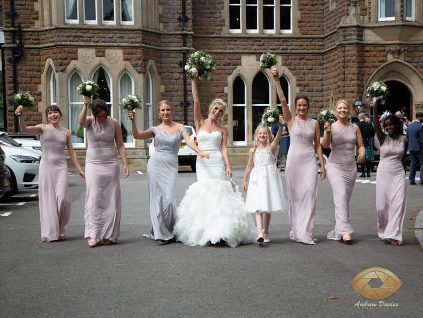 Harriet's stunning bridal party outside of Rushpool Hall, Saltburn-by-the-Sea
