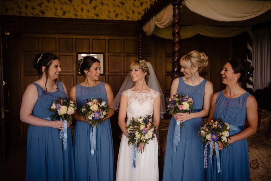 Flawless dewy makeup bridal makeup on Vicky and her bride squad at her wedding in Saltburn-by-the-Sea