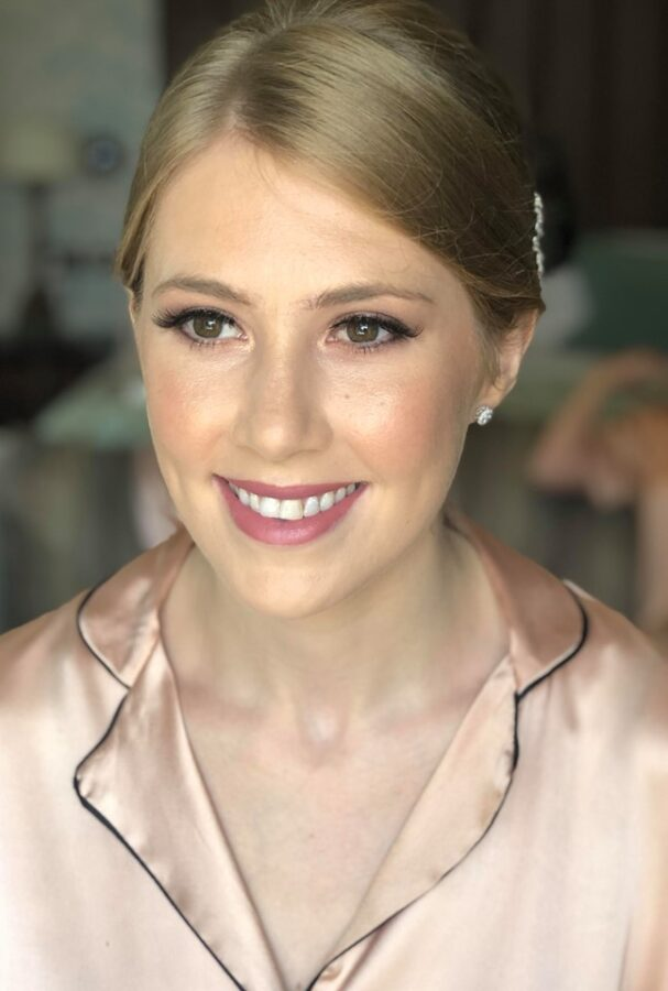 Dewy skin and soft pink tones for this stunning bridal party makeup at Wynyard Hall, Yarm.