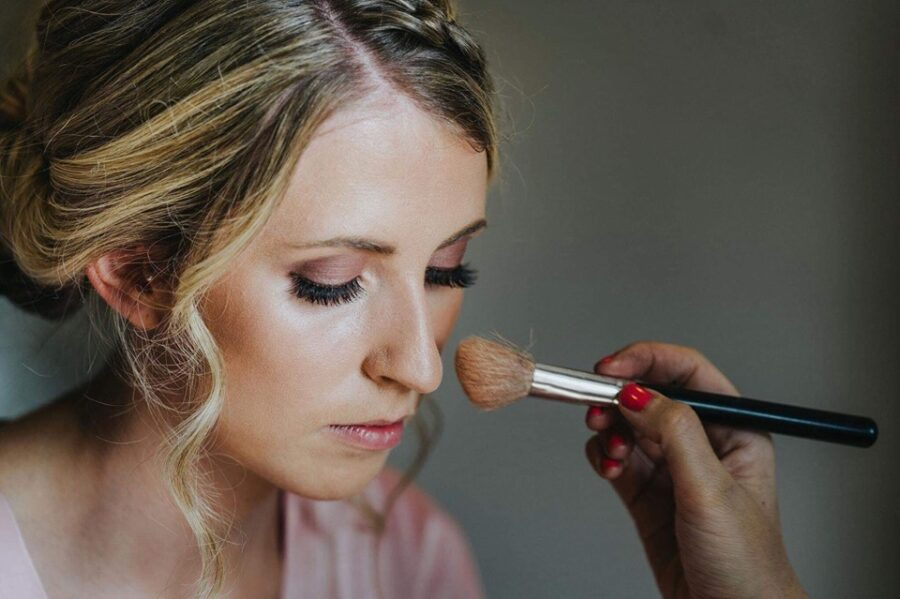 Soft pinks, fluttery lashes and flawless makeup for this bridal party on the wedding morning