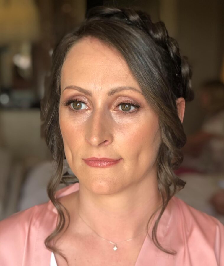 Dewy makeup with pink tones for the bridal party at Wynyard Hall, Yarm.