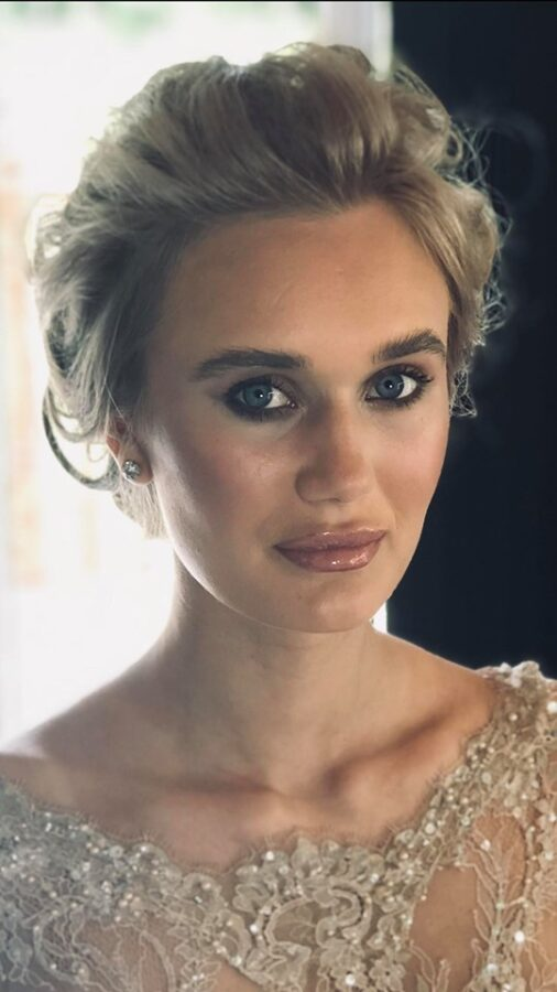 Dewy skin and beautiful bridal makeup including a nude glossy lip was the brief for this bridal pubilcation