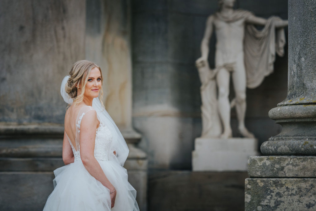 Bride Gemma on her wedding day at Wynyard Hall