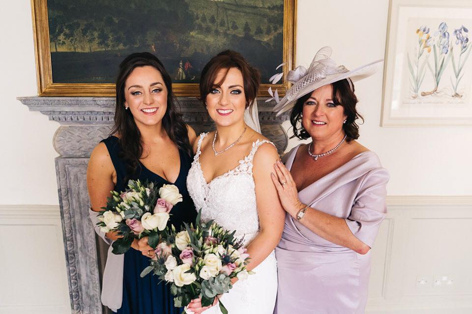 Glowing skin, gold and bronze eyes and pink lips for this bridal party