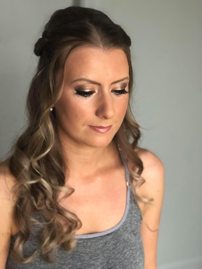 Stunning smokey eyes using Urban Decay's Naked palette for bride Sally and her wedding at Yorkshire Wedding Barn.