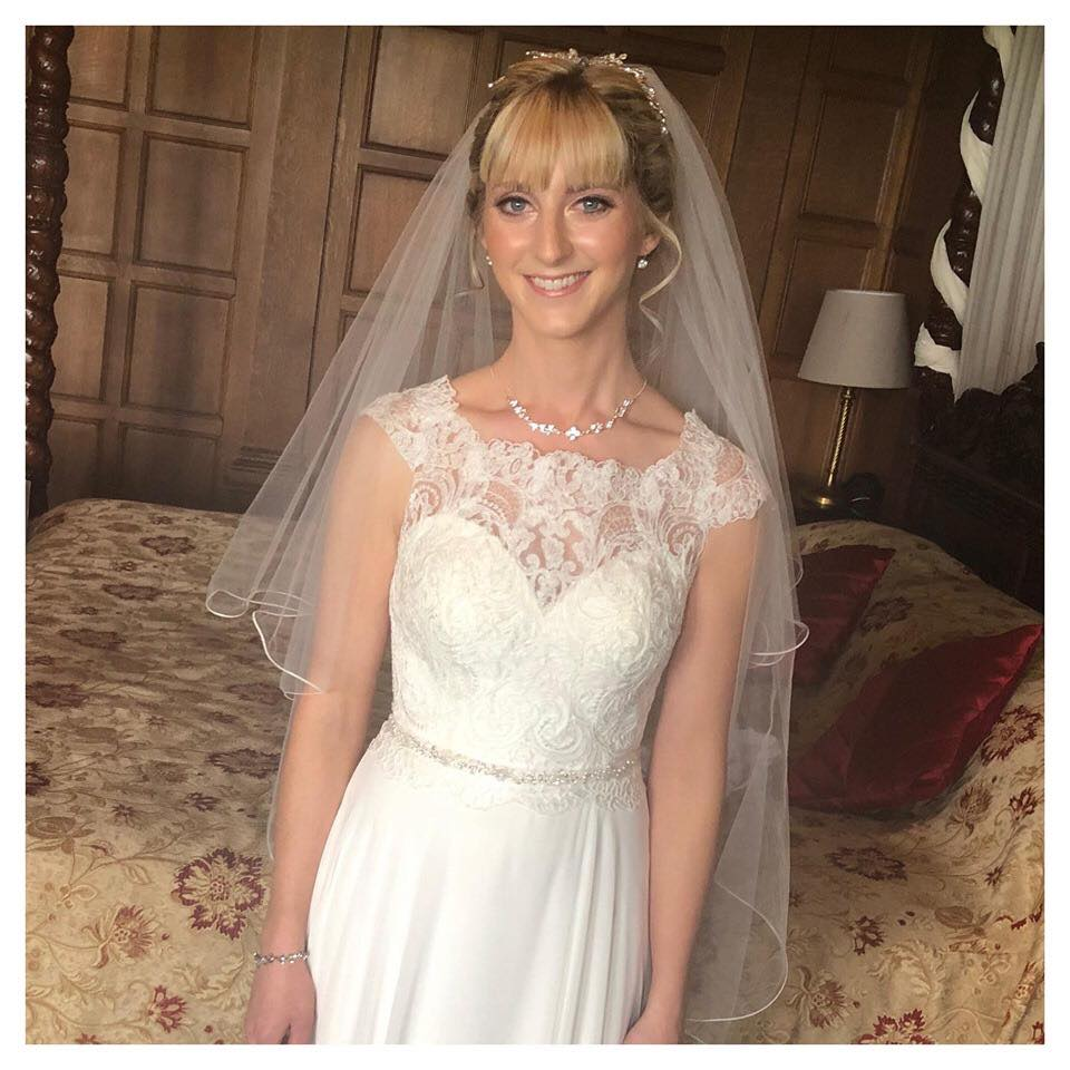 Glowing skin on bride Vicky at her wedding in Saltburn-by-the-Sea