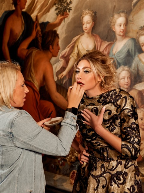 Makeup touch ups for bridal model Bryony for the British Bride front cover at Old Royal Naval College, London